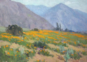 "Benjamin Brown (1865-1942) Poppies, Pasadena, California 10"" x 14,"" signed and inscribed ""Pasadena, Calif."" at lower right, oil on canvas, original frame with Vickery, Atkins & Torrey label."